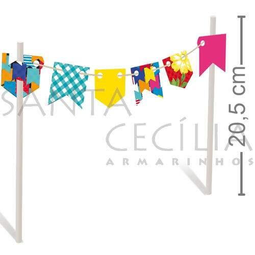 Topo De Bolo Bandeirinhas 2 Unid Quadrilha 23011724