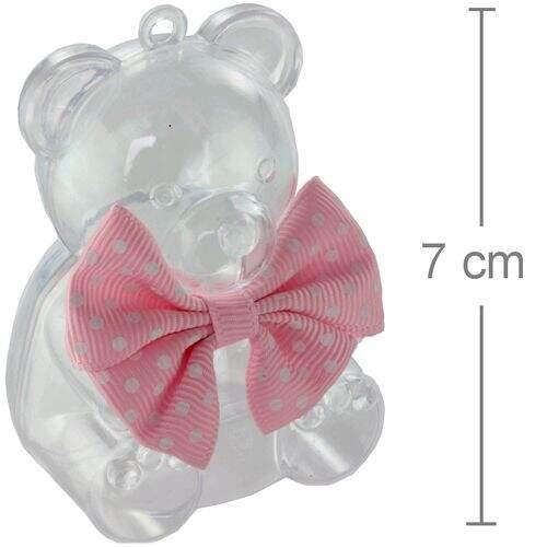 Urso de Acrílico Laço Rosa 6 unid. - Lembrancinha