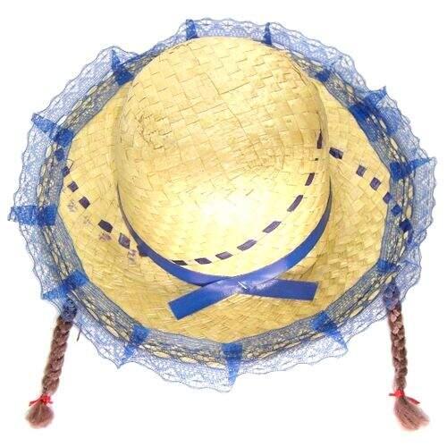 Chapéu Infantil com Trança - As cores da fita e renda variam ... 88f1d6e707